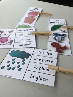 2 games of association to practice the vocabulary of spring. Montessori Materials, Montessori Activities, Educational Activities, French Teacher, Teaching French, French Flashcards, French Education, French Classroom, Kindergarten Lesson Plans