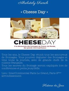 Histoire du jour : le 20 février, c'est le Cheese Day 😍  A tous les amoureux de fromages, cette journée est pour vous ! Allez suivre la page facebook du Cheese Day : https://www.facebook.com/ChesseDAY/?fref=ts / Voici le lien du site pour plus d'informations : http://www.xyzcom.fr/CHEESEDAY2017/index.html #fromage #french #france #cheeseday #fête #journéedufromage www.absolutely-french.eu