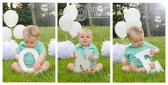 baby, one, first, birthday 1st, boy, letters, balloons, outside, outdoors