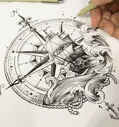 Deborah Deh Soares Calm sea has never made a good sailor. - Deborah Deh Soares Calm sea has never made a good sailor. THE…- Deborah Deh Soares Mar calmo nu - Kunst Tattoos, Body Art Tattoos, Sleeve Tattoos, Ship Tattoo Sleeves, Hand Tattoos, Cross Tattoos, Irezumi Tattoos, Ankle Tattoos, Pirate Tattoo