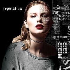 Taylor Swift Reputation cover in color with a black background and white lettering
