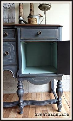 Fun pop of color inside!{createinspire}: Antique Buffet in Ash (Fusion Mineral Paint) Distressed Furniture, Rustic Furniture, Vintage Furniture, Diy Furniture, Outdoor Furniture, Furniture Layout, Furniture Logo, Furniture Refinishing, Furniture Design