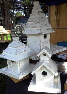 Large Wooden Birdhouses on Poles - Bird's the Word Cool Bird Houses, Fairy Houses, Bird House Feeder, Bird Feeders, Birdhouse Craft, Birdhouses, Shabby Chic Birdhouse, Bird Feeder Stands, Bird Boxes