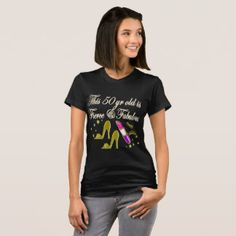 GOLD FASHION 50TH BIRTHDAY DIVA DESIGN T-Shirt   Dazzle, sparkle and shine with our personalized 50th birthday gifts. http://www.zazzle.com/jlpbirthday/gifts?cg=196128245923858498&rf=238246180177746410  #50yearsold #50thbirthday #50thbirthdaygift #50thbirthdayideas #Happy50th #50thbirthdayparty