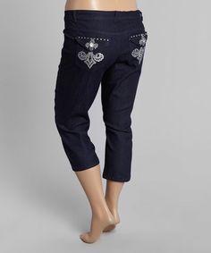 Loving this Dark Blue Fleur-de-Lis Capri Jeans - Plus on #zulily! #zulilyfinds