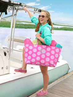 Monogrammed Personalized Utility Tote/Pool Tote/Beach Bag on Etsy, $28.95