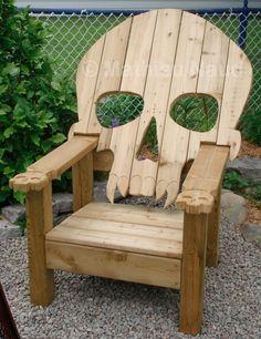 wood skull chair