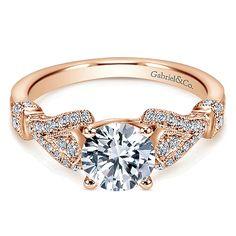 14k Pink Gold Diamond Straight Engagement Ring angle 1