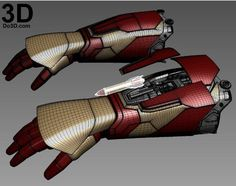 Printable Iron Man Mark XLII (Model: MK Gauntlet / Hand / Glove / Forearm with Missile Rocket Shooter Iron Man 3, Iron Man Hand, Hot Toys Iron Man, Iron Man Suit, Iron Man Armor, Armor Concept, Weapon Concept Art, How To Make Iron, Iron Man Cosplay