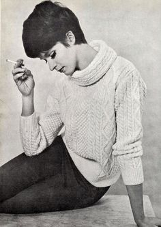 Vintage Vogue 1960s Aran Knit Casual SWEATER, DK 8 ply, Sizes 34 - 38 ins -  Instant Download  PDF of Vintage Knitting Patterns