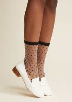 Your desire for these dotted socks to take up residence in your regular wardrobe rotation is evident! There's no denying the excited smile on your face as. Lace Socks, My Socks, Sheer Socks, Socks And Heels, Happy Socks, Ankle Socks, Crew Socks, Pretty Shoes, Cute Shoes