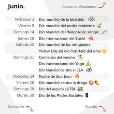 June is coming…  Este mes viene cargado de acontecimientos interesantes: llega el verano, el Día del Orgullo LGTBI, el Yellow Day,… 😍  ¿Ya has preparado todo el contenido para este mes que entra?   No te olvides de guardar el post para tenerlo siempre a mano.😉⠀ Instagram, International Day Of, Summer Time