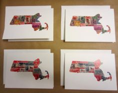 The images on the greeting cards are high-quality scans of original Root and Branch Decor artwork. The original designs are cut by hand from card stock and the collages contain a compilation of recycled postage stamps.  blank cards, greeting cards, Massachusetts map, map cards