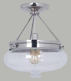 Nickel Semi Flush Ceiling Light - Baltimore 1 Light C.T.C - RRP $249.95 Lode International