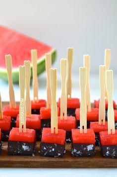 Chocolate-Covered Watermelon Bites | justataste.com | #recipe #watermelon #chocolate #summer