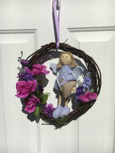 Floral purple wreath, girls room decor, nursery wreath, floral door hanger, Angel wreath, Angel decoration, Baby shower gift, floral decor by BsCozyCottageCrafts on Etsy