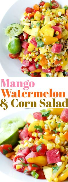 The perfect solution to any summer potluck or BBQ dilemma, this Mango, Watermelon and Corn Salad is the perfect combination of savory and sweet and pairs perfectly next to all those grilled summertime favorites. Potluck Recipes, Side Dish Recipes, Summer Recipes, Healthy Recipes, Side Dishes, Grilled Watermelon, Watermelon Recipes, Mango Recipes, Juice Recipes