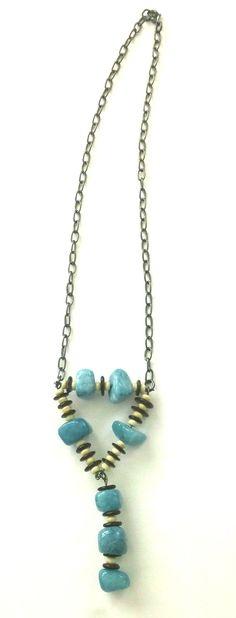 Turquoise Stones Pendant Necklace Stone Pendant by Franca&Nen $18 #handmadejewelry #turquoisenecklace