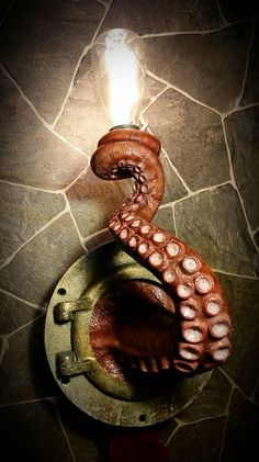 Realistic Nautical Tentacle Porthole Wall Sconce: This unique nautical wall lamp is handmade and painted to order. Lifelike and life-sized, it will light up you Wall Sconce Lighting, Wall Sconces, Wall Lamps, Sconces Living Room, Bedroom Lamps, Driftwood Lamp, Unique Lamps, Modern Lamps, Stained Glass Designs