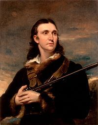 "A somewhat romantic portrait of John James Audubon (1785-1851) painted by John Symes in 1826.  Audubon painted American wildlife.  His inspired work, ""The Birds of America"", consisting of 435 life size hand colored engravings printed on double-elephant folio sized sheets is considered one of the finest bird books ever produced. http://en.wikipedia.org/wiki/John_James_Audubon"