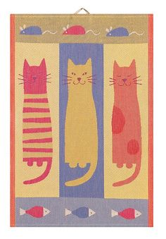 Bright and colorful cat towel in cotton from the Swedish Ekelund textile mill. Perfect for cat lovers! Dog Quilts, Cat Quilt, Baby Quilts, Quilting Tips, Quilting Projects, Applique Quilts, Embroidery Applique, Cat Colors, Kids Prints