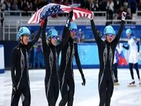 The US short track skaters won the silver medal in the 5000m team short track relay at the 2014 Winter Olympics in Sochi, Russia. It is the first US medal in overall speed skating, but they did not medal in the speed skating events.