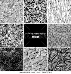 Set of eight  black and white wave patterns (seamlessly tiling).Seamless pattern can be used for wallpaper, pattern fills, web page background,surface textures. Gorgeous seamless wave background - stock vector