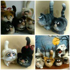 Купить котята маленькие - разноцветный, котенок из шерсти, котенок валяный, котенок игрушка, интерьерная игрушка