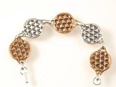 Silver and Bronze Yoga Link Bracelet by TafSchaeferDesign on Etsy, $200.00