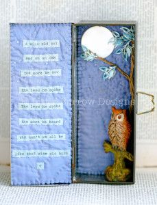 Wise Old Owl Storybox, by Little Burrow Designs. Upcycled / recycled /reworked vintage sculpture. Textiles, embroidery, mixed media, assemblage, wirework, tin art, altered tin art, www.littleburrowdesigns.co.uk www.facebook.co.uk/littleburrowdesigns