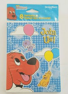 CLIFFORD the Big Red Dog INVITATIONS & THANK YOU CARDS  Birthday Party Supplies #ScholasticsBooks #BirthdayChild