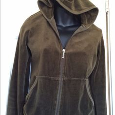 Juicy Hoodie size L Moss Green in EUC size L runs a little small approx 20 inches from shoulder to waist & bust is 18 across chest No rips tears odors or stains Sorry color did not show in photos, rustic Moss green Juicy Couture Jackets & Coats