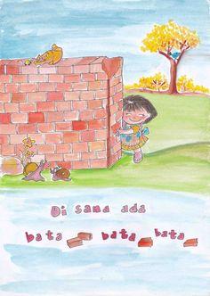 Girls hiding on bricks