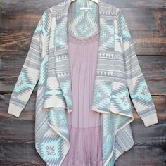 Open waterfall drape front cardigan jacket with aztec print - grey + mint