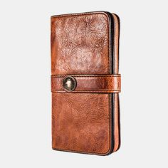 Hot-sale Men Vintage Card Holder Solid Phone Bag Long Wallet - NewChic Mobile Card Wallet, Clutch Wallet, Card Case, Vintage Cards, Vintage Men, Mens Long Leather Wallet, Business Fashion, Business Casual, Long Wallet