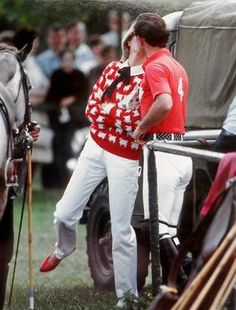 June 1983 - Prince Charles and Princess Diana kissing at Smith's Lawn polo grounds, Windsor