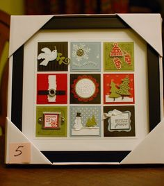 Christmas Collages. I could make this with old Christmas cards. Just cut into same-size squares and frame.