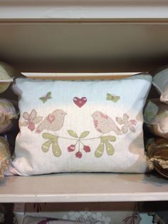 Here is our beautiful new Linen Love Birds Cushion..