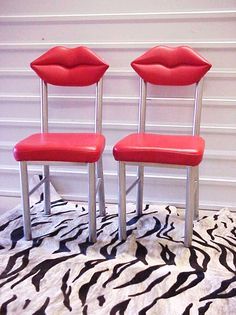 SALE Marilyn Red Lips Chairs Pair Studio 65 Dali by DallasModern