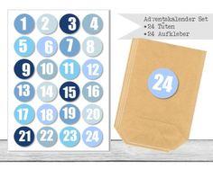 "www.papierbuedchen.de - DIY Adventskalender \"" Tüten & Aufkleber \"" (K34)"