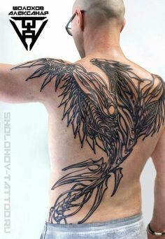 Tattoo Aleksandr Sholohov - tattoo's photo In the style Graphics, Male, Eagle, Skul Full Back Tattoos, Back Tattoos For Guys, Full Body Tattoo, Tattoo Set, Body Art Tattoos, Hand Tattoos, Sleeve Tattoos, Indian Skull Tattoos, Tattoo Tribal