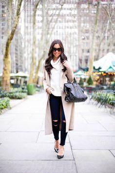 Neutrals in Bryant Park - Sandro coat // MICHAEL Michael Kors sweater // J Brand jeans // Jimmy Choo heels YSL bag // Celine sunglasses Monday, December 29, 2014