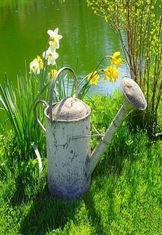 daffodils and watering can Garden Art, Garden Tools, Water Me, Rustic Gardens, Water Garden, Farm Life, Daffodils, Spring Time, Spring Scene