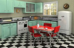 Linoleum: Keep It Out Of Kitchens!: Here we see a chic retro style kitchen with a black and white checkerboard pattern floor and off green features, accented by a bright red table to create the look of a 1950's diner.