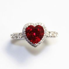 Red Ruby Heart Shape Gemstone Sterling 925 Silver Wedding Rings For Women Bridal Fine Jewelry Engagement Bague Ruby Wedding Rings, Gold Diamond Wedding Band, Wedding Rings For Women, Bridal Rings, Wedding Jewelry, Diamond Jewelry, Silver Jewelry, Fine Jewelry, Women Jewelry