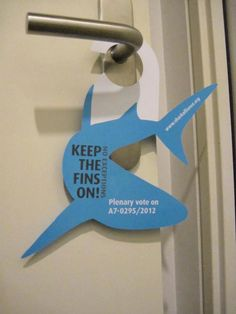 We're at the European Parliament in Strasbourg with the The Shark Trust and our Shark Alliance partners for the debate and crucial vote on the EU shark finning regulation. We placed these hangers on all MEP's office doors today! :-) We're keeping the pressure on!