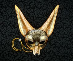 Venetian Fennec Fox Mask handmade leather fennec mask by Merimask