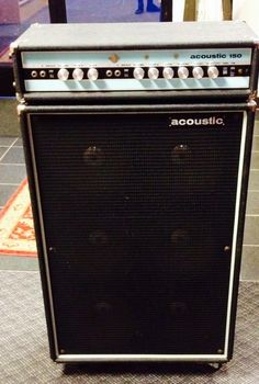 Acoustic 150 Guitar Amp Head and 610 Cabinet with Original Covers 1970 Black & Blue