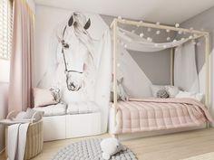 Horse Themed Bedrooms, Bedroom Themes, Bedroom Decor For Teen Girls, Cute Bedroom Ideas, Big Living Rooms, Kids Room Design, Little Girl Rooms, Decoration, Kura Bed