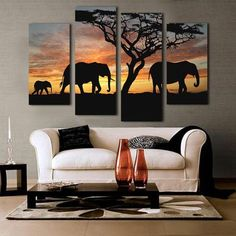 Nice 4 Pieces Canvas Wall Art Sunset Elephant Painting Canvas,africa painting,Modern Wall Art Picture for Living Room Canvas - Buy it Now! Living Room Canvas Prints, Living Room Art, Canvas Wall Art, Painting Canvas, African Interior Design, Decor Interior Design, Interior Ideas, Modern Interior, Living Room Pictures